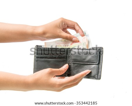 Singapore Dollar in purse or wallet on white background