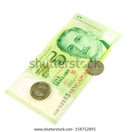 Singapore Dollars on isolated white background. - stock photo