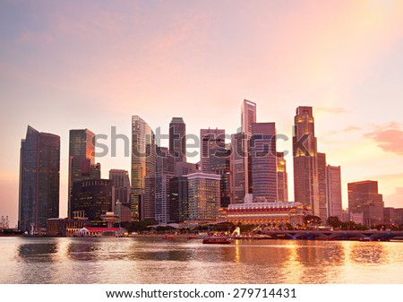 Singapore Downtown Core in romantic sunset colors - stock photo
