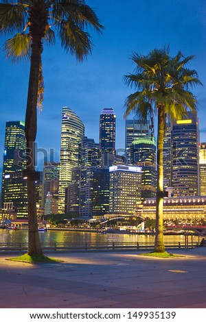 Singapore embankment in the evening - stock photo