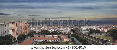 Singapore Eunos Housing Estate by the MRT Train Station Panorama - stock photo
