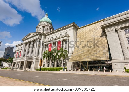 Singapore, 26 Feb 2016: Formerly the Supreme Court Building and City Hall. the National Art Gallery is the largest visual arts venue and largest museum in Singapore. - stock photo