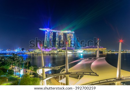 SINGAPORE -Feb 25: Largest and most beautiful laser show at the Marina Bay waterfront in Singapore. Wonderful laser show and water spectacular in Southeast Asia on Feb 25, 2016, Singapore - stock photo