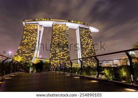 SINGAPORE-FEB 2, 2015 : Night view at Marina Bay Sands Resort Hotel in Singapore, the integrated resort casino and shopping center. - stock photo