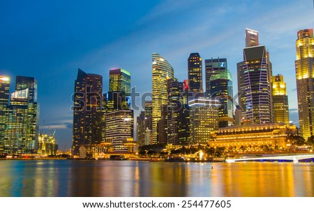 Singapore - 17 Feb 2015,Singapore city scape at night with reflect