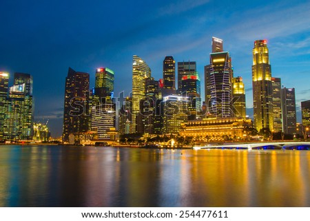Singapore - 17 Feb 2015,Singapore city scape at night with reflect - stock photo