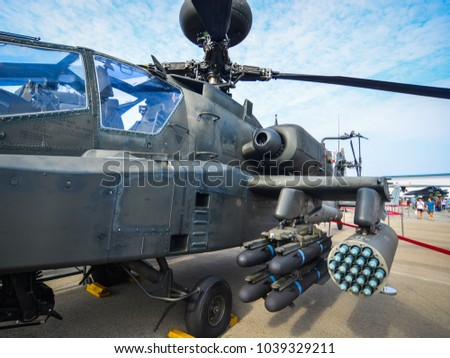 Singapore  - Feb 10, 2018. Weapons of Boeing AH-64 Apache helicopter belong to the Singapore Air Force on display in Changi, Singapore.