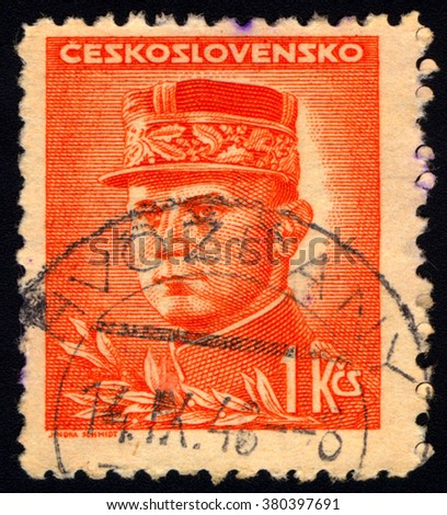 SINGAPORE - FEBRUARY 23, 2016: A stamp printed in Czechoslovakia shows General Milan Rastislav Stefanik, circa 1947