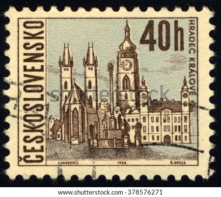 SINGAPORE - FEBRUARY 19,  2016: A stamp printed in Czechoslovakia shows Hradec Kralov, circa 1965 - stock photo