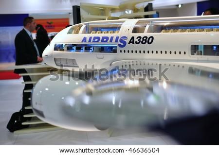 SINGAPORE - FEBRUARY 03: Airbus A380 super jumbo model at Singapore Airshow February 03, 2010 in Singapore - stock photo