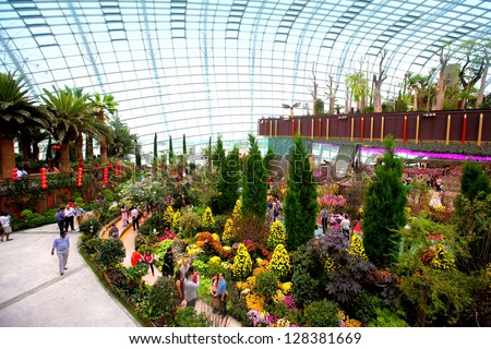 SINGAPORE, FEBRUARY 12 - Display in the Flower Dome, one of two conservatories within the Gardens by the Bay spanning 101 hectares of reclaimed land in central Singapore, Singapore in Feb 12,2013 - stock photo