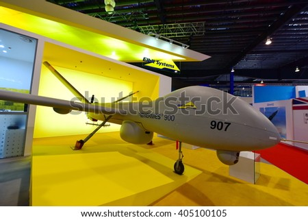 SINGAPORE - FEBRUARY 16:  Elbit Hermes 900 unmanned aerial vehicle on display at Singapore Airshow February 16, 2016 in Singapore
