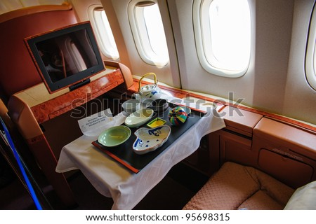 SINGAPORE - FEBRUARY 12: First class cabin in Singapore Airlines' (SIA) last Boeing 747-400 aircraft at Singapore Airshow February 12, 2012 in Singapore
