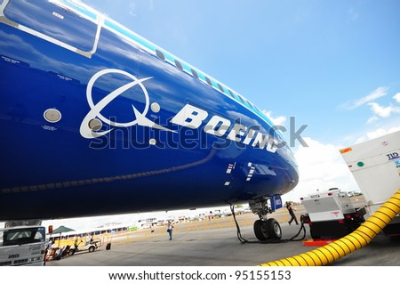 SINGAPORE - FEBRUARY 12: Front of Boeing 787 Dreamliner at Singapore Airshow February 12, 2012 in Singapore