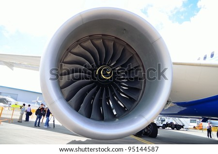 SINGAPORE - FEBRUARY 12: Front view of the intake fan of Boeing 787 Dreamliner's Rolls Royce Trent 1000 engine at Singapore Airshow February 12, 2012 in Singapore