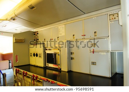 SINGAPORE - FEBRUARY 12: Galley of Singapore Airlines' (SIA) last Boeing 747-400 aircraft at Singapore Airshow February 12, 2012 in Singapore - stock photo