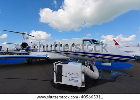 SINGAPORE - FEBRUARY 16:  Gulfstream business jet on display at Singapore Airshow February 16, 2016 in Singapore