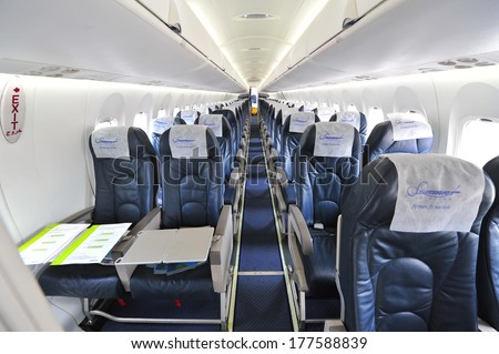 empty passenger airplane seats cabin stock photo 540250492 shutterstock. Black Bedroom Furniture Sets. Home Design Ideas