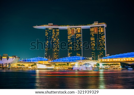 SINGAPORE - FEBRUARY 28, 2015: Laser show in Marina bay Sands