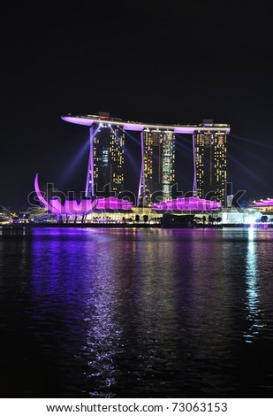 SINGAPORE - FEBRUARY 26: Marina Bay Sands hotel on Feb 26,2011 in Singapore. Wonder Full show is the largest light and water spectacle in Southeast Asia