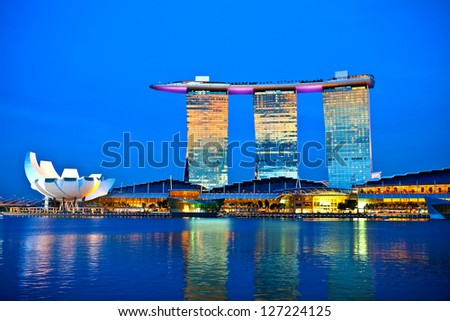 SINGAPORE - FEBRUARY 1: Marina Bay Sands, World's most expensive standalone casino property in Singapore at S$8 billion on Feb 1, 2013 - stock photo