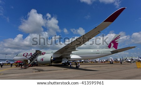 SINGAPORE - FEBRUARY 16:  Qatar Airbus A350-900 XWB on display at Singapore Airshow February 16, 2016 in Singapore - stock photo