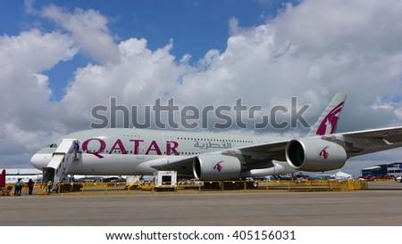 SINGAPORE - FEBRUARY 16:  Qatar Airways Airbus A380 super jumbo on display at Singapore Airshow February 16, 2016 in Singapore - stock photo