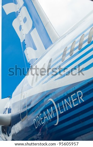 SINGAPORE - FEBRUARY 12: Rear detail of Boeing 787 Dreamliner at Singapore Airshow in Singapore on February 12, 2012. - stock photo