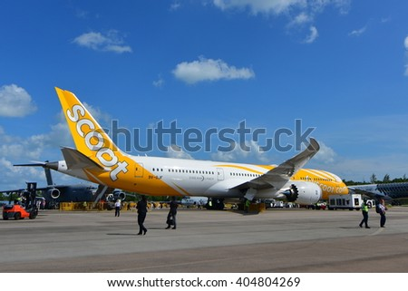 SINGAPORE - FEBRUARY 16:  Scoot Boeing 787 Dreamliner on display at Singapore Airshow February 16, 2016 in Singapore