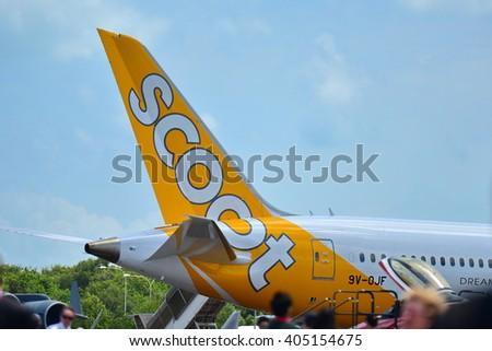 SINGAPORE - FEBRUARY 16:  Scoot Boeing 787 Dreamliner on display at Singapore Airshow February 16, 2016 in Singapore - stock photo