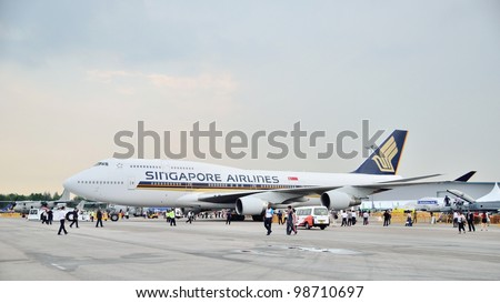 SINGAPORE - FEBRUARY 17: Singapore Airlines (SIA) showcasing its last Boeing 747-400 aircraft at Singapore Airshow on February 17, 2012 in Singapore