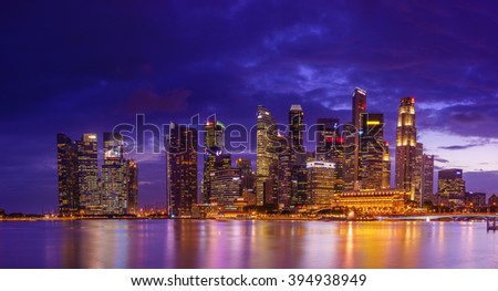 SINGAPORE, FEBRUARY 22 2016 : Singapore skyline and view of the financial district, Singapore on February 23 22016
