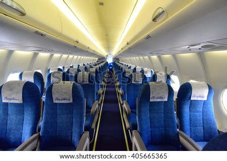 SINGAPORE - FEBRUARY 16:  Sukhoi Superjet 100 cabin at Singapore Airshow February 16, 2016 in Singapore