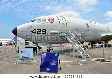SINGAPORE - FEBRUARY 12: US Navy Boeing P-8 Poseidon maritime patrol aircraft on display at Singapore Airshow February 12, 2014 in Singapore