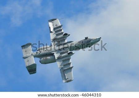 SINGAPORE - FEBRUARY 03: USAF A-10 Thunderbolt II performs stunts during Singapore Airshow February 03, 2010 in Singapore