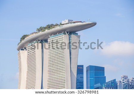 SINGAPORE - FEBRUARY 28, 2015: view of Marina Bay Sands. Marina Bay Sand is one of the most famous tourist attraction in Singapore.  - stock photo