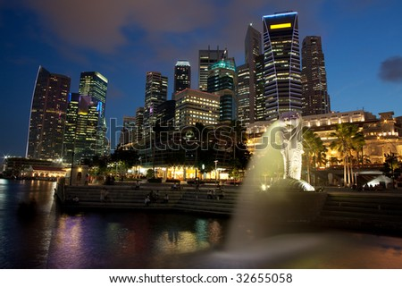 Singapore Financial District at dusk from Merlion Park