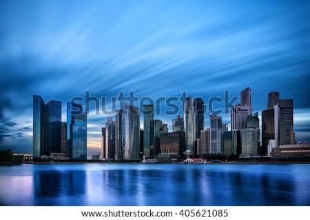 Singapore financial district skyline  - stock photo