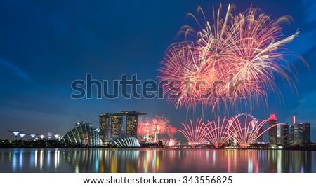 Singapore firework waterfront - stock photo