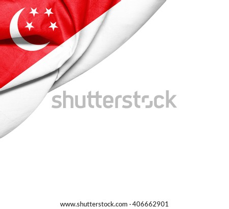 Singapore  flag of silk with copyspace for your text or images and white background - stock photo