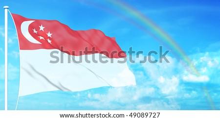 Singapore flag on beautiful sky background - stock photo
