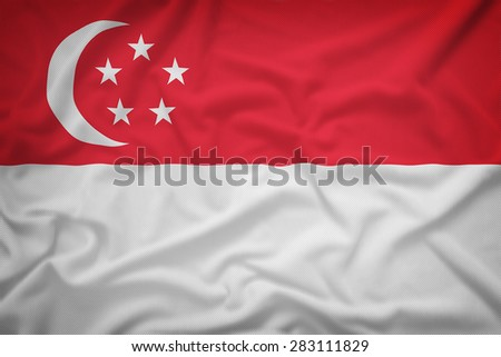 Singapore flag on the fabric texture background,Vintage style - stock photo