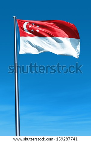 Singapore flag waving on the wind - stock photo