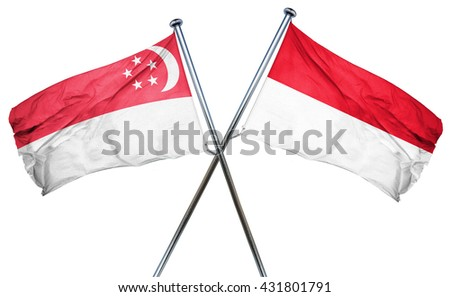 Singapore flag with Indonesia flag, 3D rendering - stock photo