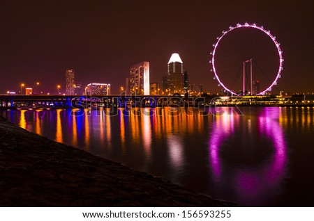 Singapore flyer and skyline at night  - stock photo
