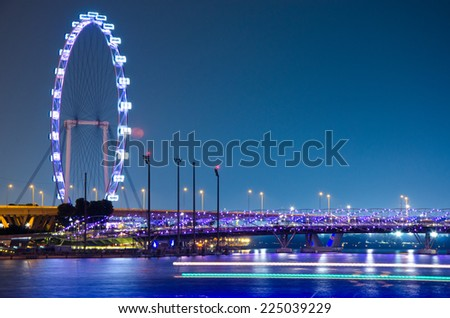 Singapore Flyer October 11 the Largest Ferris Wheel in the World on October 11, 2014 in Singapore - stock photo