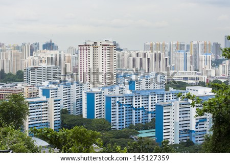 Singapore Housing Estate built by Housing Development of Singapore - stock photo