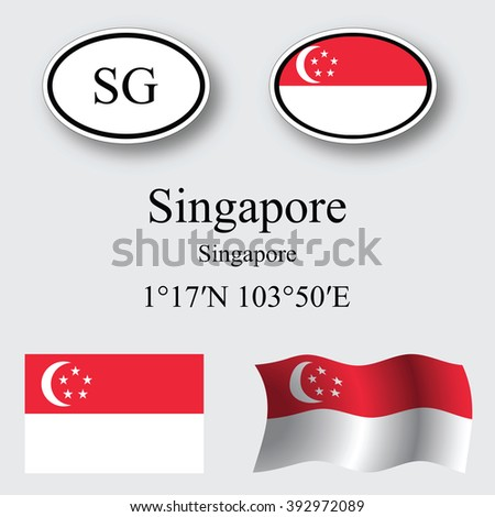 singapore icons set against gray background, abstract art illustration, image contains transparency