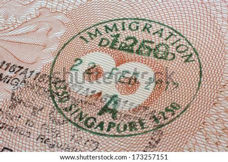 Singapore immigration stamp - stock photo