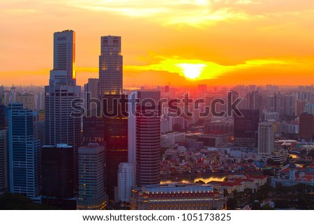 Singapore in the evening at sunset. - stock photo